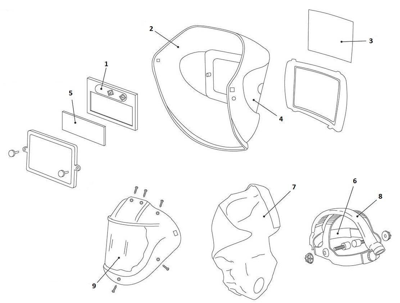 welding helmet diagram